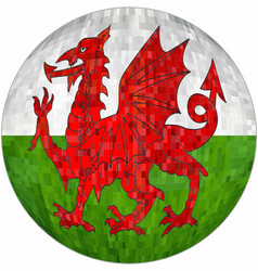 Ball with wales flag vector
