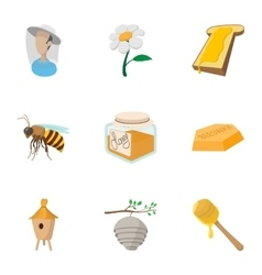 Beekeeping icons set cartoon style vector image