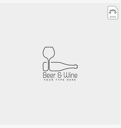 Beer glass and bottle creative logo template icon vector