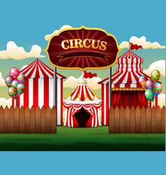 big top circus tents white and red background vector image