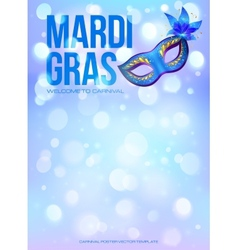 Blue Mardi Gras poster template with bokeh effect vector