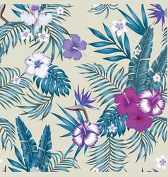 blue tint seamless botanical pattern beige vector image