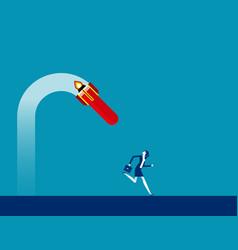 Businessman runs away under broken rocket fail vector