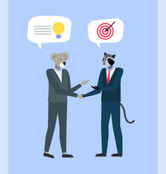 businesspeople in animal masks and expensive suits vector image