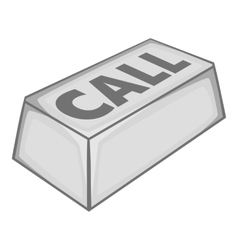 Call button icon gray monochrome style vector