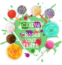 Candys lolly dessert colorful icon choose your vector