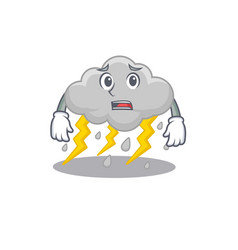 Cartoon design cloud stormy showing worried face vector