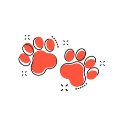 Cartoon paw print icon in comic style dog or cat vector