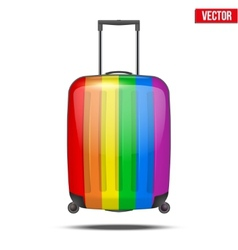 Classic rainbow plastic luggage suitcase for air vector image