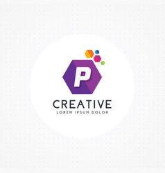creative hexagonal letter p logo vector image