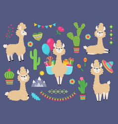 cute alpaca funny cartoon llama peru baby lamas vector image