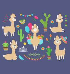 cute alpaca funny cartoon llama peru balamas vector image