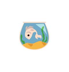 Cute fish in aquarium icon flat cartoon vector