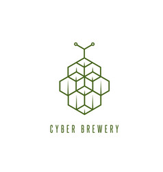 Cyber brewery concept with abstract hop vector