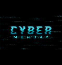 Cyber monday sale banner hud style glitch effect vector
