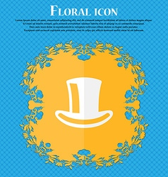 cylinder hat Floral flat design on a blue vector image