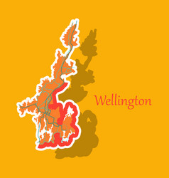 Detailed sticker map of wellington new zealand vector