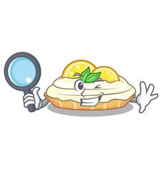 Detective cartoon lemon cake with lemon slice vector