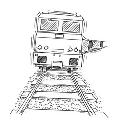 drawing of generic train engine locomotive on the vector image