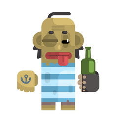 drunk alcoholic with shiner and a bottle vector image