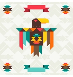 Ethnic background with eagle in navajo design vector image