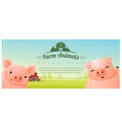 Farm animal and rural landscape with pigs vector
