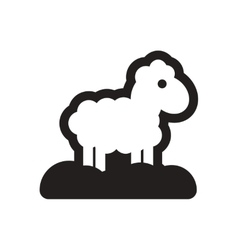 Flat icon in black and white sheep vector