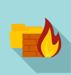 Folder firewall icon flat style vector