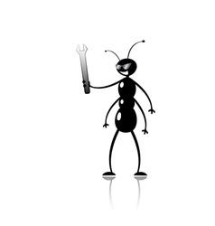 funny cartoon ant mechanic vector image