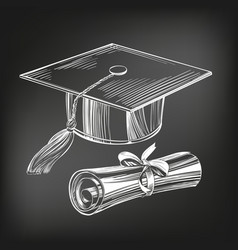 Graduate cap and diploma education vintage setice vector