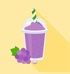 grapes smoothie or juice in plastic glass vector image