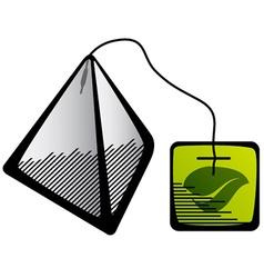 Green tea pyramid bag icon vector