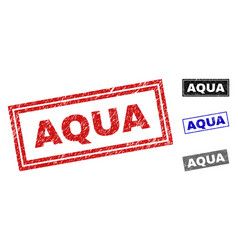 grunge aqua scratched rectangle watermarks vector image