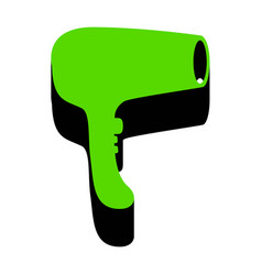 hair dryer sign green 3d icon with black vector image