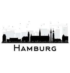 Hamburg City skyline black and white silhouette vector