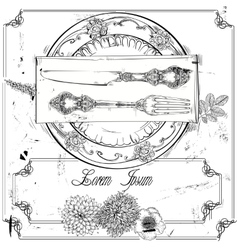 Hand drawn fork knife and plate vector