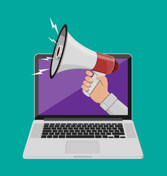 hand holding megaphone coming out from laptop vector image