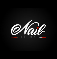hand lettering nail salon on black background vector image