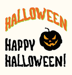 Happy halloween title and spooky face pumpkin vector
