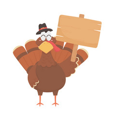 happy thanksgiving day turkey and wooden sign vector image