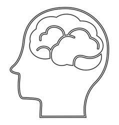 head profile witn brain icon vector image