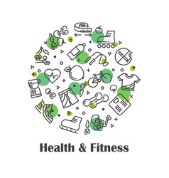 Health and fitness fresh food outline icons vector