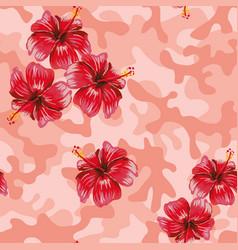 Hibiscus pink camo background vector