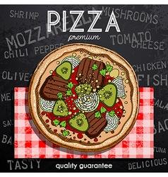 Hot pizza advertisement vector