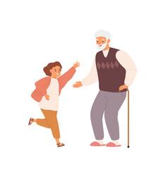 joyful little girl and grandfather having fun vector image