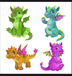 Little cute cartoon baby dragons set vector