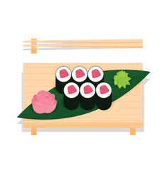 maki sushi with tuna served on wooden board vector image