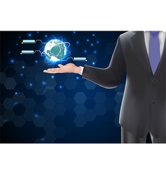 Man holding with glowing globe vector image