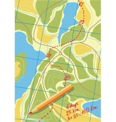 Map of trip on the forests vector