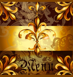 menu design with heraldic elements vector image